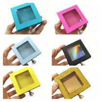 Pink yellow blue color eyelash packaging box lash boxes package custom logo 25mm mink lashes strip magnetic case bulk vendors