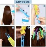 Hair Rollers Snail Shape Not Waveform 75CM 18Pcs 4 Sticks Spiral Round Curls Hair Curler Soft Hair Curler Bendy Hair Rollers DIY