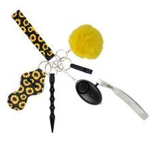 Tanngronie Safety Keychain Set for Women Personal Alarm Wristlet Window Breaker Lip Balm Holder Keychain