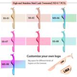 Customized logo tweezers for eyelashes black plastic strip lash rose eyelash tweezers eyelash set glitter eye lash tweezer case