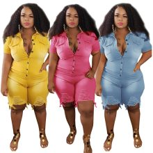Plus Size Clothing Jeans Jumpsuits Women S-5XL Short Sleeve Bodysuit Ripped Denim Shorts Jumpsuits Wholesale Dropshipping