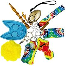 Safety Keychain Set for Woman With Whistle,Alarm,Window Breaker, Lip Balm Lanyard