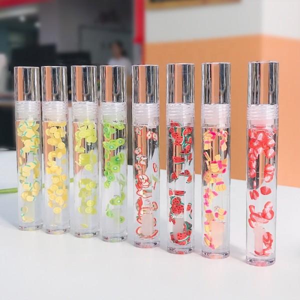 Lipgloss Vendor Custom Clear Kids Glossy plumping Glitter Kit Vegan Private Label Fruit Lip Gloss