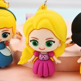 Disney Frozen Keychain Cartoon Anime Mermaid Princess Toys Snow White Mini Action Figure Model Keyring Girls Children Kids Gift