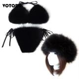 Women Real Fox Fur Slippers Sexy Bikini Bra Set Fluffy Raccoon Slides Beach Fur Swimsuit Underwear Fashion Bikini Set Detachable