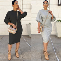 fall New sweater dress women clothing style five-point lantern sleeve loose long plus size sweater dress