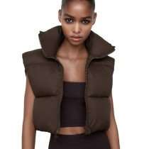 Stand Collar Cotton Vests Women Solid Zipper Coats High Waisted Vests Ladies