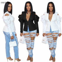 Fashionable jackets for women 2021 Solid Color Long Sleeve Women Tops Early Autumn Ladies Casual Short Suit Coat Jacket