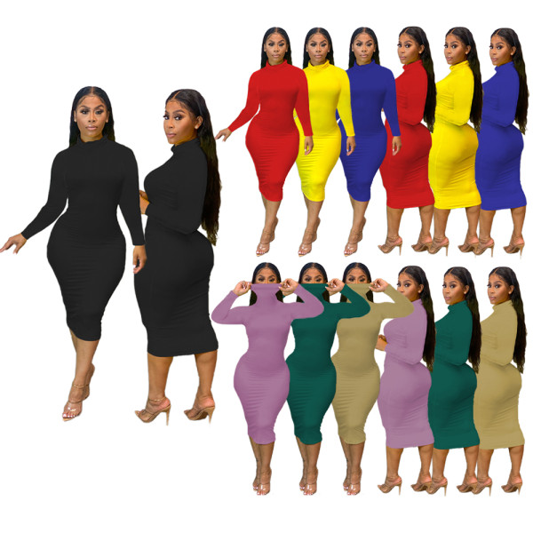Sh7211 Simple Fashion Ladies Elegant Casual Dresses High Collar Solid Color Dresses Women Clothing