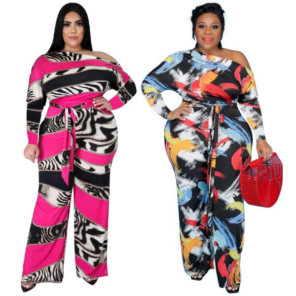New womens jumpsuits printed slanted shoulder strap wide leg pants jumpsuit women jumpsuit
