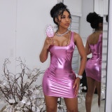 Bomblook X21DS423 Fashion Shiny Mini Dresses Sleeveless Solid Color Square Collar Skinny Dresses Partywear
