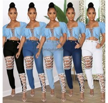 J&H 2021 Latest Pure Color Hollow Out Casual Jeans High Waist Hole Trousers Womens Denim Trousers High Fashion Street Wear