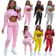 2021 Custom Logo Two Pieces Hoodie Training Tracksuit Joggers Suits Set 2 Piece Stacked Top Pants sweat  Suit Fall  for Women