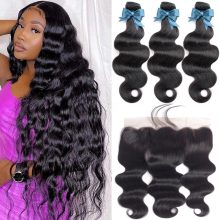 Brazilian Hair Weave Bundles With Frontal 36  Transparent Beaudiva Hair Body Wave Human Hair Bundles With Lace Frontal Closure