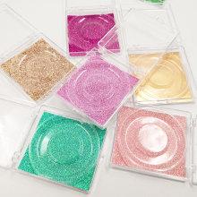 bulk 20/pack wholesale lash case eyelash packaging box lash boxes packaging glitter sliding plastic case with clear trays holder