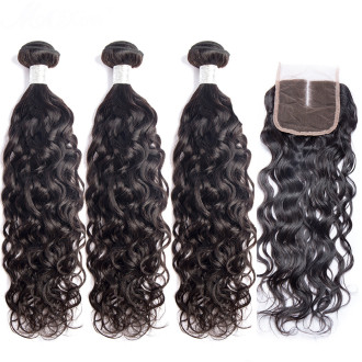 Water Wave Peruvian Human Hair With Lace Closure Frontal