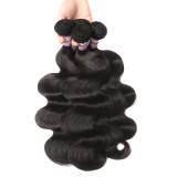Peruvian human hair body wave with lace closure 4*4 closure