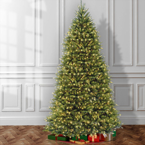 9' H Size Fir Green Artificial Christmas Tree with Color + Clear Lights