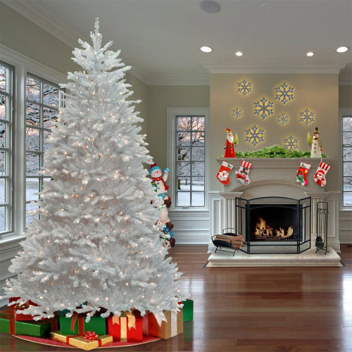 9' H Size Fir White Christmas Tree with Clear/White Lights