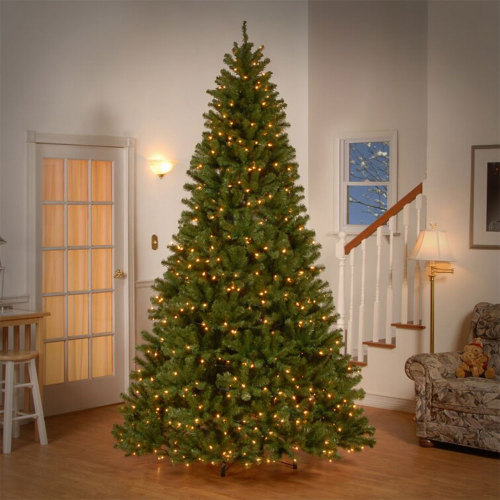 9' H Size Norwood Fir Green Spruce Artificial Christmas Tree with White Lights