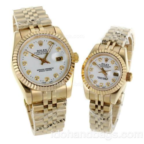 Rolex Datejust Automatic Full Gold Diamond Markers with White Dial-Sapphire Glass 116576