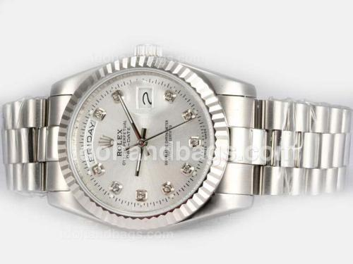 Rolex Day-Date Automatic Diamond Marking with Silver Dial 18295