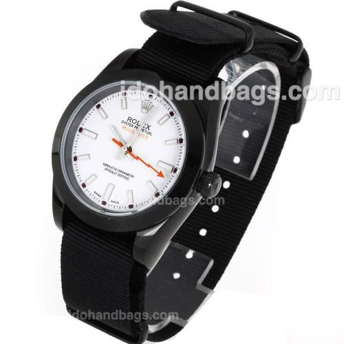 Rolex Milgauss Automatic PVD Case White Markers with White Dial-Nylon Strap 119214