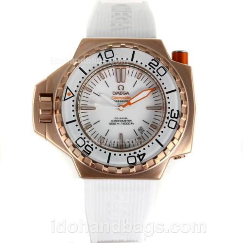 Omega Seamaster Co-Axial Automatic Rose Gold Case with White Dial-White Rubber Strap 110274