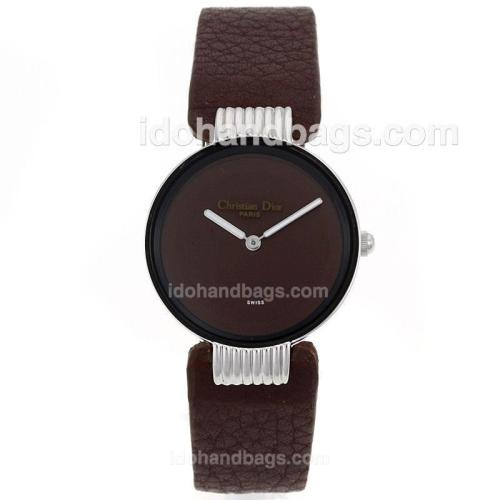 Dior Classic Brown Dial with Leather Strap-Lady Size 69786