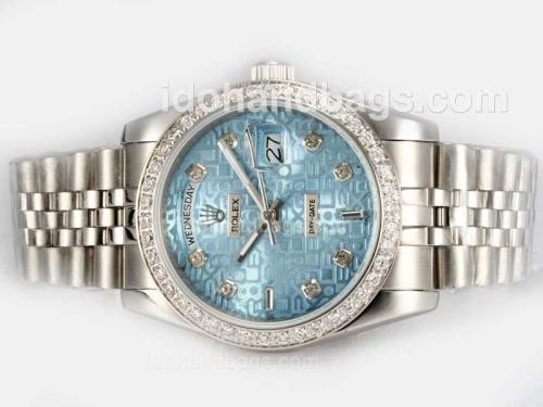 Rolex Day-Date Automatic Diamond Bezel and Marking with Blue Computer Dial 18485