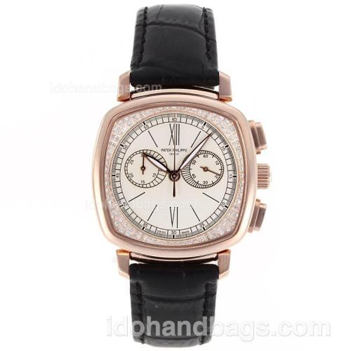 Patek Philippe Classic Working Chronograph Rose Gold Case Diamond Bezel with White Dial-Sapphire Glass 80361