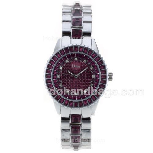 Dior Austria Crystal Ladies Watch Silver Authentic Ceramic with Purple Diamond Dial 50258