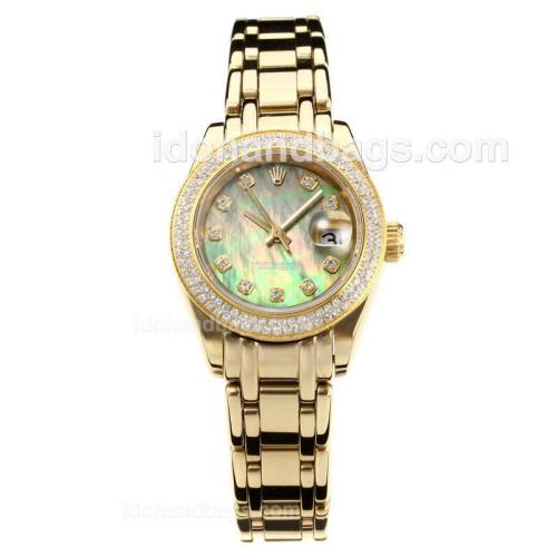 Rolex Masterpiece Automatic Full Gold Diamond Bezel with Dark Green MOP Dial-Same Chassis as ETA Version 176402