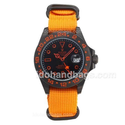 Rolex Explorer Automatic PVD Case with Black Dial-Orange Cloth Strap 203578