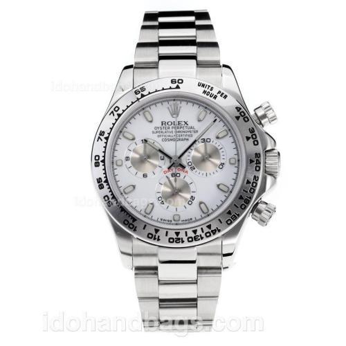 Rolex Daytona Swiss Valjoux 7750 Movement with Super Luminous White Dial S/S-Sapphire Glass 187064