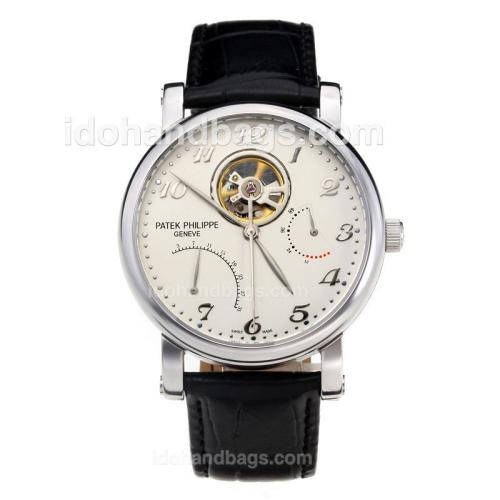 Patek Philippe Working Power Reserve Automatic Tourbillon with White Dial-Leather Strap 198526