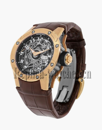 Replica Richard Mille Rose Gold Case Leather Strap Watch RM61-03