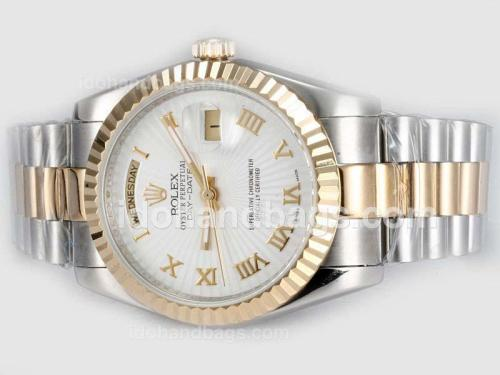 Rolex Day-Date Automatic Two Tone with White Dial-Roman Marking 20311