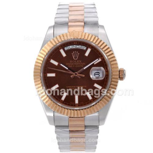 Rolex Day-Date II Swiss ETA 2836 Movement Two Tone Stick Markers with Brown Dial 61163
