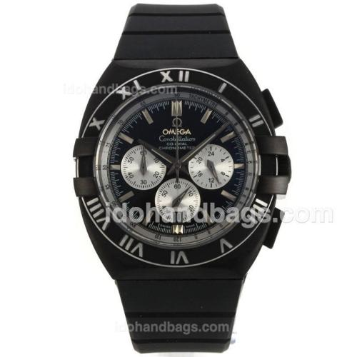 Omega Constellation Double Eagle Working Chronograph PVD Case with Black Dial-Rubber Strap 139544
