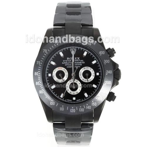 Rolex Daytona II Automatic PVD Case Ceramic Bezel White Stick Markers with Black Dial 106558