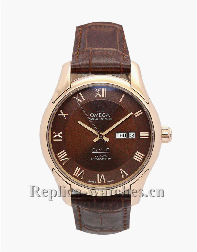 Omega De Ville Hour Vision Brown Leather Strap 41 MM
