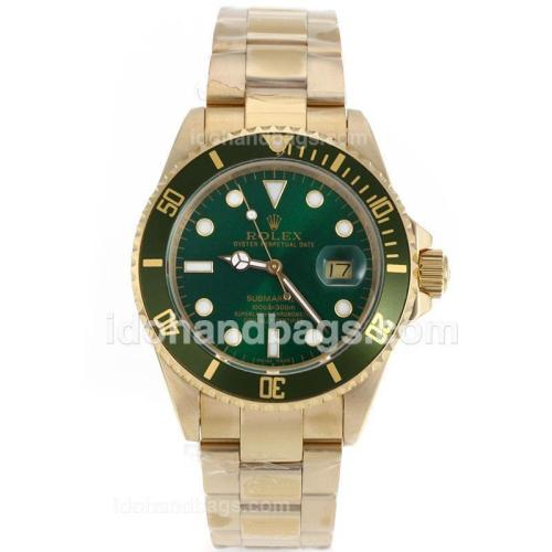 Rolex Submariner Automatic Full Gold with Green Dial and Bezel 119232