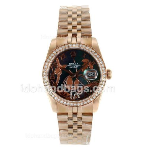 Rolex Datejust Automatic Full Rose Gold Diamond Bezel Roman Markers with MOP Dial-Flowers Illustration 115628