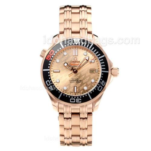 Omega Seamaster GMT Automatic Rose Gold Case Black Bezel with Champagne Dial 182848