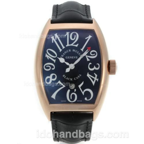Franck Muller Casablanca Automatic Rose Gold Case with Black Dial-Jumbo Version 25062