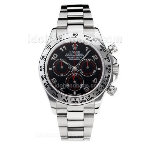 Rolex Daytona Swiss Valjoux 7750 Movement with Super Luminous Black Dial S/S-Sapphire Glass 187062