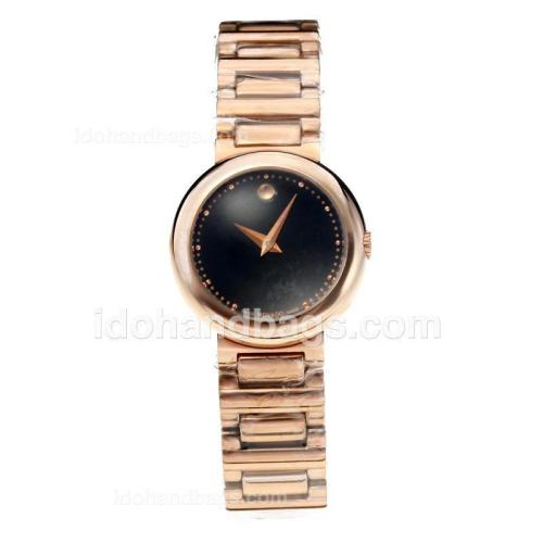 Movado Fiero Full Rose Gold with Black Dial 189084