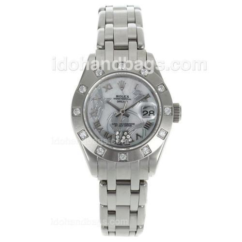 Rolex Masterpiece Swiss ETA 2671 Movement Diamond Bezel Roman Markers with White MOP Dial-Flowers Illustration 116288