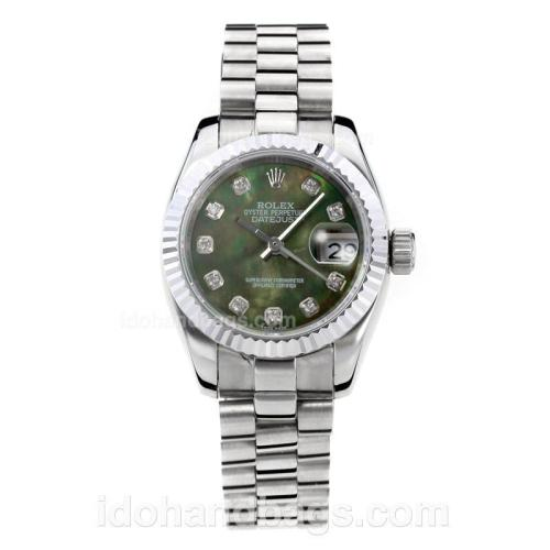 Rolex Datejust Automatic Diamond Markers With Dark Green MOP Dial S/S-Same Chassis as ETA Version 176382